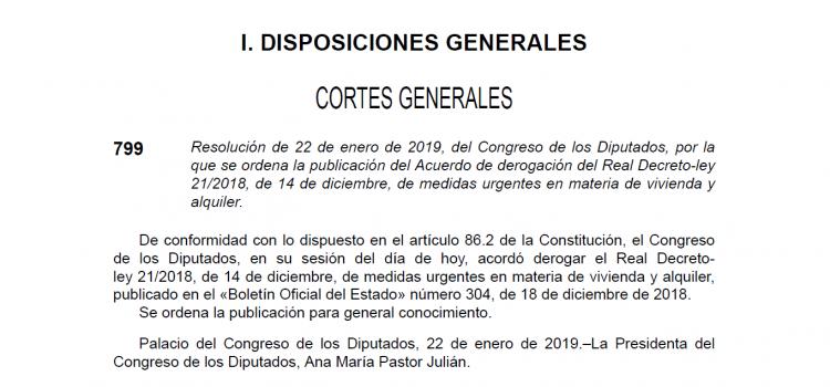 Nuevo Real Decreto Ley 7/2019 de Medidas Urgentes en Materia de Vivienda y Alquiler
